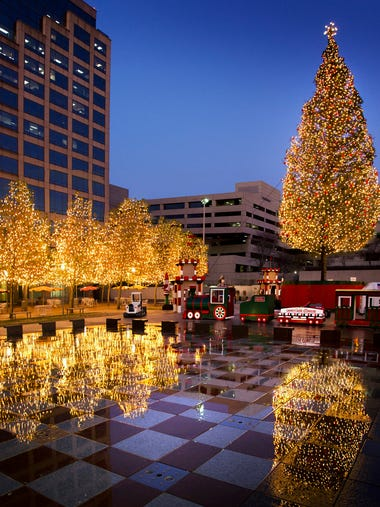 Crown Center in Kansas City is lit up during the holiday