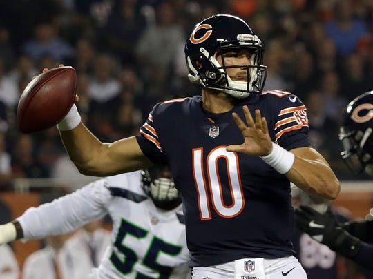FILE - In this Monday, Sept. 17, 2018, file photo, Chicago Bears quarterback Mitchell Trubisky (10) throws a pass during the first half of an NFL football game against the Seattle Seahawks, in Chicago. The Bears face the New York Jets on Sunday, Oct. 28. (AP Photo/David Banks, File)