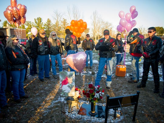 Members of the Shepherds Riding Club gather to remember Channon Christian at Highland West Cemetery on Jan. 7, 2017.