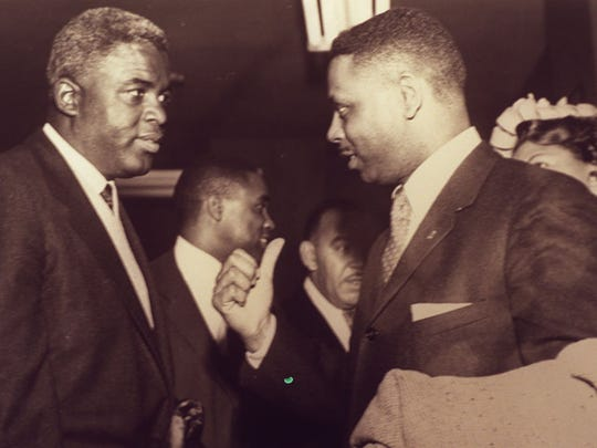 Brooklyn Dodger Jackie Robinson and Damon Keith at