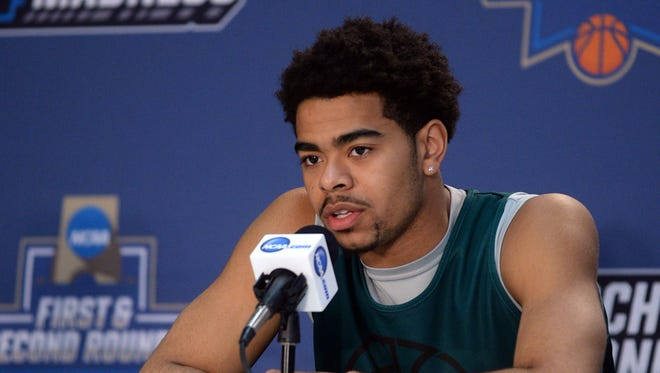 UW-Green Bay guard Carrington Love speaks to the media Thursday during a practice day before the first round of the NCAA men's college basketball tournament at Chesapeake Energy Arena.
