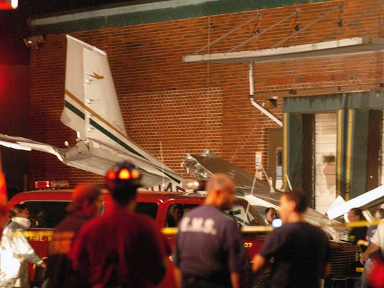 Plane crashed into a loading dock off of Huyler Street.