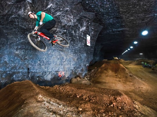 """Eric Porter gets big air at Louisville's Mega Cavern during a soft opening for teams and media. """"I wish they had this here when I was a kid,"""" Porter said. Feb. 9, 2015"""