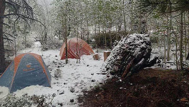 The Sierra Front Wildfire Cooperators released this photograph of snow at the Hunter Falls Fire.
