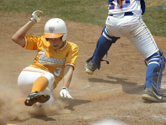 Tennessee's Sarah Fekete scores against Florida during the SEC tournament May 13, 2004, in Tuscaloosa, Ala.