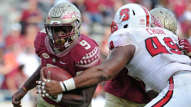Florida State junior tailback Jacques Patrick (9) will look for a breakout performance against NC State's unit, led by senior defensive end Bradley Chubb.