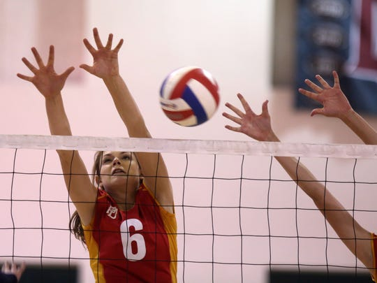 La Quinta and Palm Desert volleyball action on Thursday, September 14, 2017 in La Quinta.