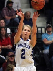 Fairfield's Allix Goldhahn eyes the basket Friday night in Belgrade at the State B tournament.