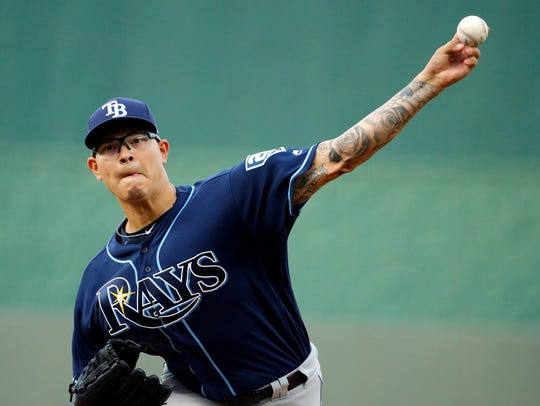 Tampa Bay Rays starting pitcher Anthony Banda, a Sinton