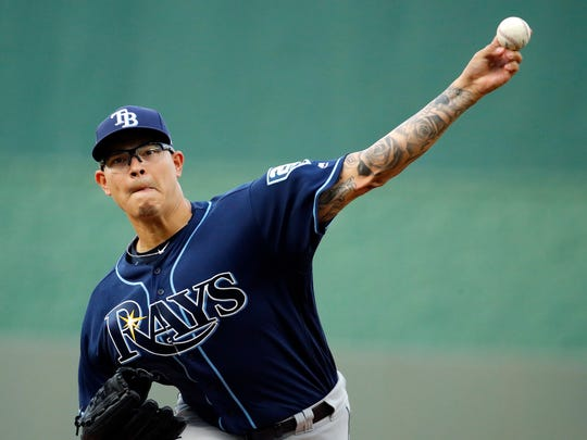 Tampa Bay Rays starting pitcher Anthony Banda, a Sinton graduate, throws during the first inning of a baseball game against the Kansas City Royals Tuesday, May 15, 2018, in Kansas City, Mo. (AP Photo/Charlie Riedel)