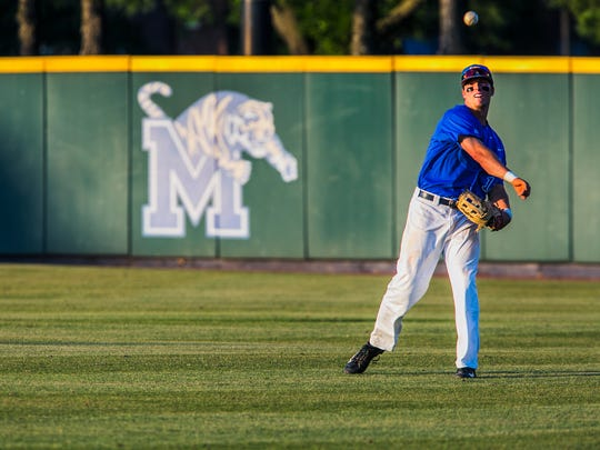 Chris Carrier, a senior right fielder for the University of Memphis, throws during a game against Murray State at FedExPark on Tuesday. The baseball player has overcome injuries to lead his team this year.