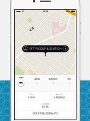 A screenshot of the app Uber.