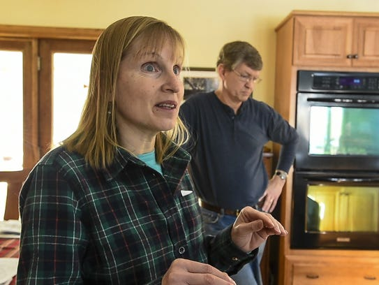 Christine Lang and her husband Dustin, seen on Friday,