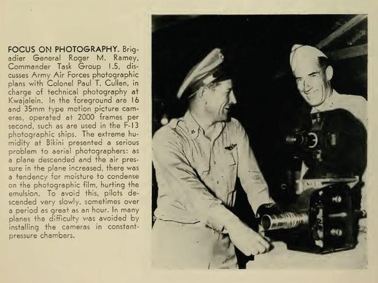 Brig. Gen. Roger Ramey and Col. Paul T. Cullen at Kwajalein Atoll in the Pacific Ocean during U.S. nuclear testing in the late 1940s image in a once-classified government report. Cullen coordinated aerial photography at the test and later went missing in the Atlantic ocean in a disappearance that puzzles historians. He and more than 50 other USAF specialists flew into oblivion in March 1951.