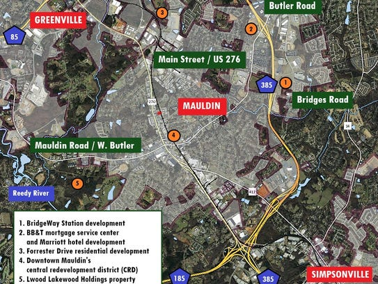 Some of the city of Mauldin's major commercial and