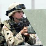 A female soldier in 2003 in Mosul, Iraq.