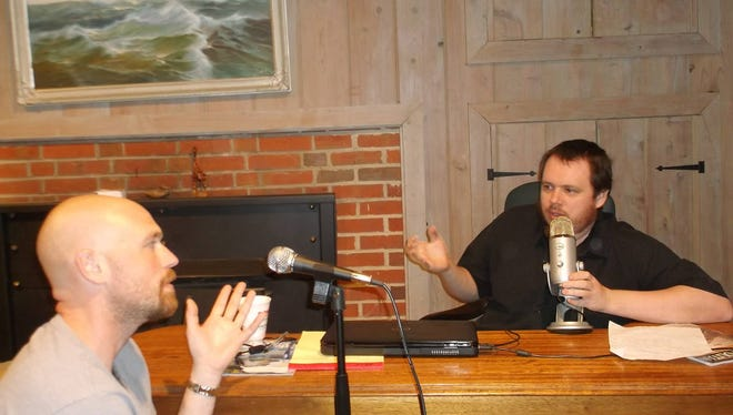 """Co-hosts Stephen Miles, right, and Ryan Young record their podcast """"Extreme Happiness"""" out of their homemade Pocomoke studio every Sunday. The show is available online free through iTunes, TuneIn or SoundCloud."""
