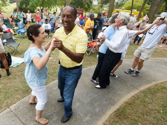 Charles Riser and  Phyllis Castille dance  to music during the 2016 Highland Jazz and  Blues Festival at Columbia Park in the Highland neighborhood of Shreveport. The festival returns this month.