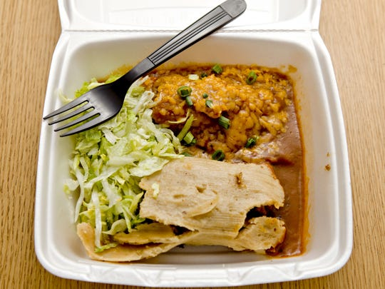 The tamales at Carolina's come in red-beef, green-corn