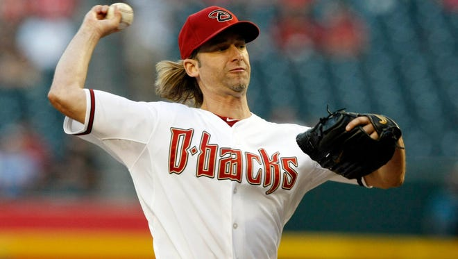 Diamondbacks starting pitcher Bronson Arroyo throws during the first inning against the Reds at Chase Field on May 30.