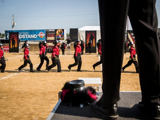 Richmond High School competes on Band Day at the Indiana State Fair Saturday morning.