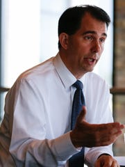 Gov. Scott Walker speaks Monday with USA TODAY NETWORK-Wisconsin in Appleton. Walker said he has no problems throwing his support behind Donald Trump.