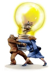two people wrestle over an 'idea' light bulb