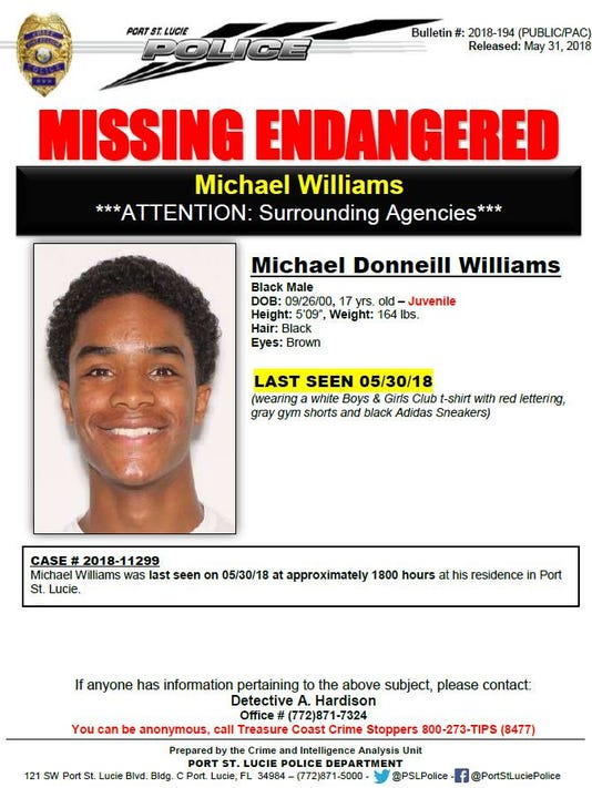 Port St. Lucie Police Department is looking for Michael Donneill Williams, a 17-year-old boy who was last seen at his home in Port St. Lucie.
