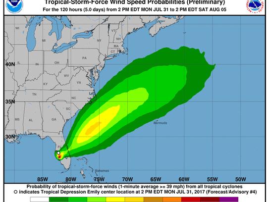 Tropical Depression Emily 5 p.m., July 31, 2017.