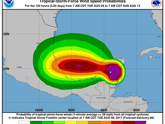 Tropical Storm Franklin 11 a.m., Aug. 8, 2017