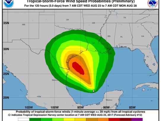 Tropical Depression Harvey, 11 a.m., Aug. 23, 2017