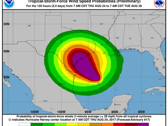 Hurricane Harvey 2 p.m. Aug. 24, 2017