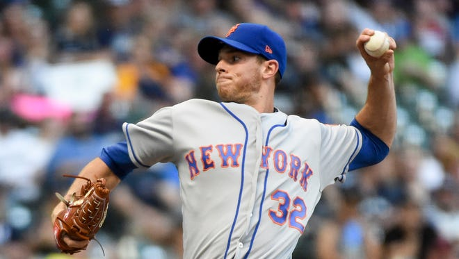 New York Mets pitcher Steven Matz (32) throws a pitch in the first inning against the Milwaukee Brewers at Miller Park.