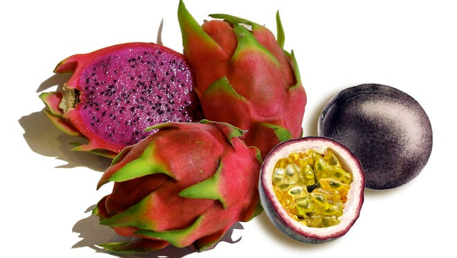 Dragon fruit and passion fruit.