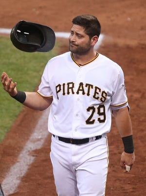 Francisco Cervelli reacts as he leaves the game with an injury against the Cardinals at PNC Park.