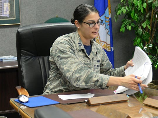 Captain Amanda Barreto, the 49th Wing legal assistance and preventive law chief of operations, prepares to have a one-on-one with an Airman during the Legal Hawk Outreach Program visit to the 49th Material Maintenance Support Squadron at Holloman Air Force Base on Dec. 4. The legal office recently cut back the number of walk-in legal assistance appointments due to manning issues. The outreach program was created to provide quality legal assistance to those who were having difficulty making it to the legal office.