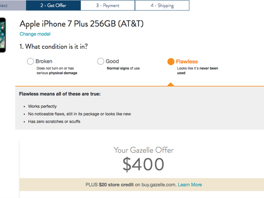 For the same phone, Gazelle generated this price offer.