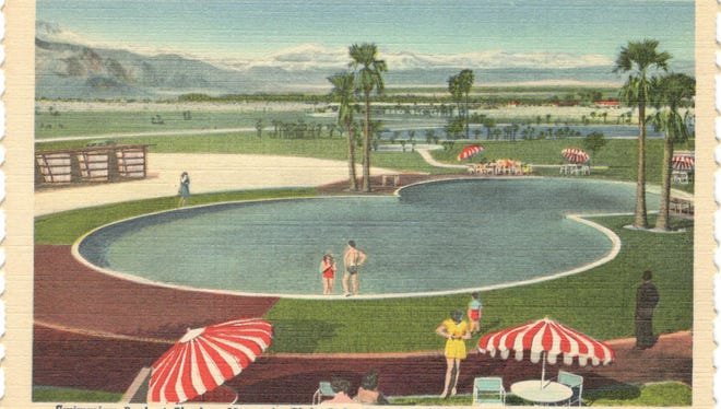 Hand tinted linen postcard showing pool soon after construction.  Golf course is seen at the upper left.
