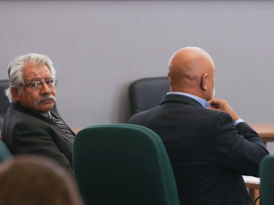 Doña Ana County Treasurer David Gutierrez, looks back into the court room during a recess in his trial Wednesday, November 30, 2016. Gutierrez, who was accused of offering an employee money in exchange for sex, was found guilty of public corruption or gross immorality by public official.