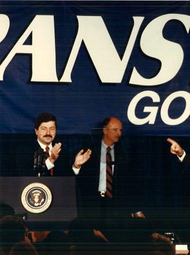 George H.W. Bush campaigns for Gov. Terry Branstad.