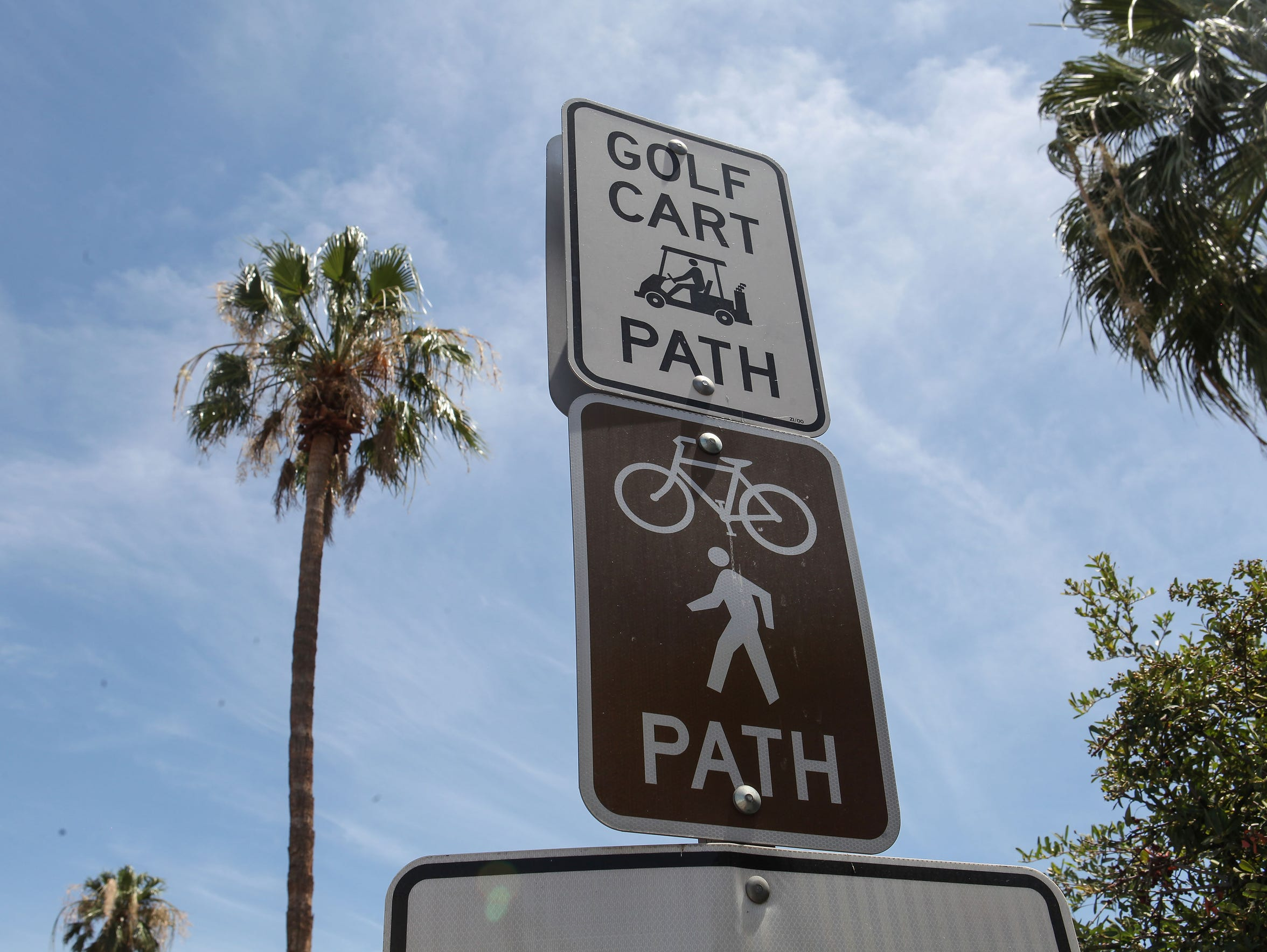 An existing bike path, golf cart path and sidewalk runs along Highway 111 near Country Club Drive in Rancho Mirage.