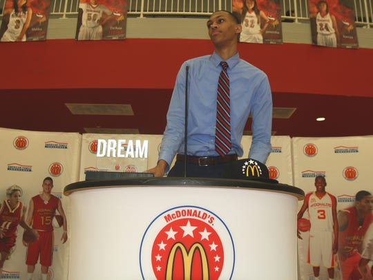 Princeton High School senior Darius Bazley received his McDonald's All-American Game jersey on Tuesday, Feb. 20, 2018.