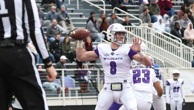 ACU quarterback Kade Munden looks to throw the ball against Central Arkansas. Munden made his second career start because of an injury to starting quarterback Luke Anthony. The Bears beat ACU 34-0 on Saturday, Nov. 18, 2017 at Estes Stadium to win the outright Southland Conference football title.