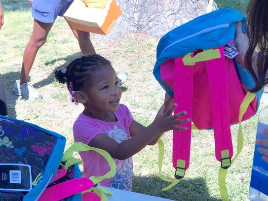 Destiny Banks, 4, gets a new, free backpack and school