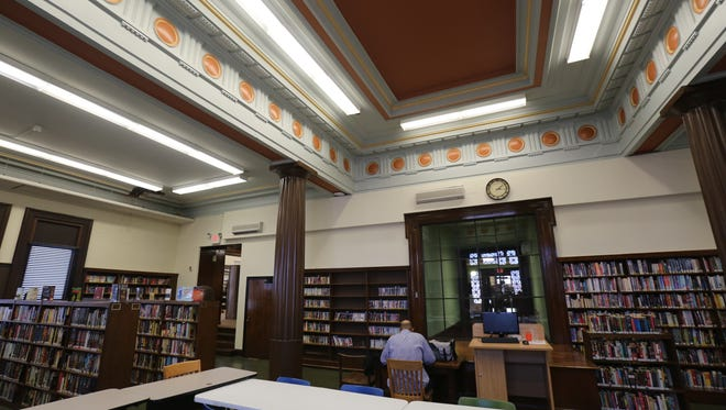 The original architecture in the fiction room at the Mount Vernon Public Library.