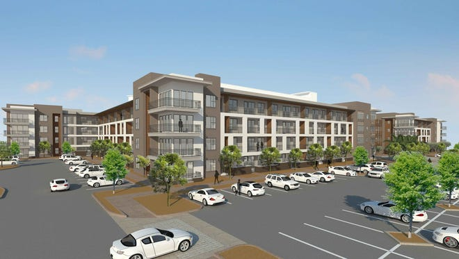 A conceptual rendering shows the proposed Scottsdale Marketplace project at Scottsdale Road and Chauncey Lane, which features 301 apartments or condos, shops and restaurants.