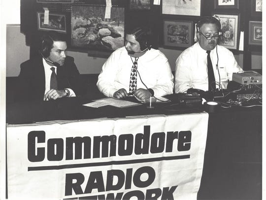 Current MTSU play-by-play announcer Chip Walters, middle,