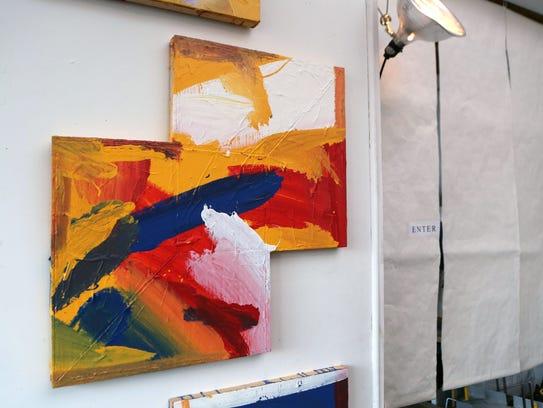 A painting by Jesse Sanchez, an artist whose studio