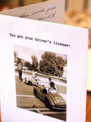 A card celebrates a new driver on gettign their license.