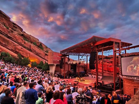 Red Rocks Amphitheater near Denver is surrounded by